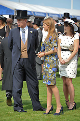HRH The DUKE OF YORK, PRINCESS BEATRICE OF YORK and PRINCESS EUGENIE OF YORK at the Investec Derby at Epsom Racecourse, Epsom Downs, Surrey on 4th June 2011.