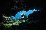 Divers explore natural caves and rocks in the Mediterranean sea off the coast of Larnaca, Cyprus,