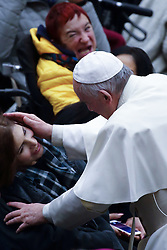 December 20, 2017 - Vatican City State (Holy See) .On his 81st birthday POPE FRANCIS touches the disabled during the general audience at the Vatican. (Credit Image: © Evandro Inetti via ZUMA Wire)