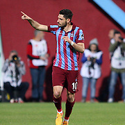 Trabzonspor's Ozer Hurmaci celebrate his goal during their Turkish SuperLeague Derby match Trabzonspor between Galatasaray at the Avni Aker Stadium at Trabzon Turkey on Sunday, 19 April 2015. Photo by TVPN/TURKPIX