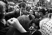 Dickie Rock is surrounded by fans looking for an autograph.   .26.04.1966