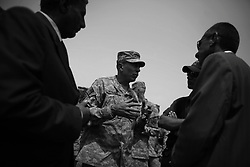 Army General David Petraeus tours two US bases in Iraq's western Al-Anbar province on Sept.  6, 2008 - visiting troops, being briefed by local commanders, and speaking with Iraqi governmental and tribal leaders - during the last days of his position as commander of all coalition forces in Iraq before he transfer to command of the US Central Command which oversees the wars in Iraq and Afghanistan.