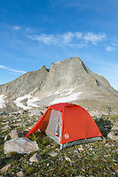 Noel Lake backcountry camp with red tent. Bridger Wilderness. Wind River Range, Wyoming