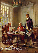 Writing the Declaration of Independence, 1776':   Benjamin Franklin, left, John Adams meeting at  Thomas Jefferson's, standing, lodgings in Philadelphia to study a draft of the document. After the painting by J.L.G. Ferris (1863-1930)