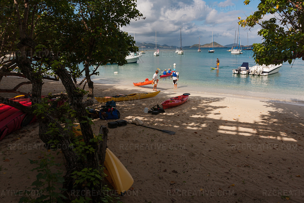 Kayaks on Cruz Bay Beach in Galge Cove, St. John, U.S. Virgin Islands. Photo © Robert Zaleski / rzcreative.com<br /> —<br /> To license this image for editorial or commercial use, please contact Robert@rzcreative.com