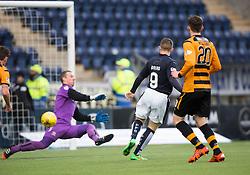 Falkirk's John Baird scoring their first goal. <br /> Falkirk 5 v 0 Alloa Athletic, Scottish Championship game played at The Falkirk Stadium.