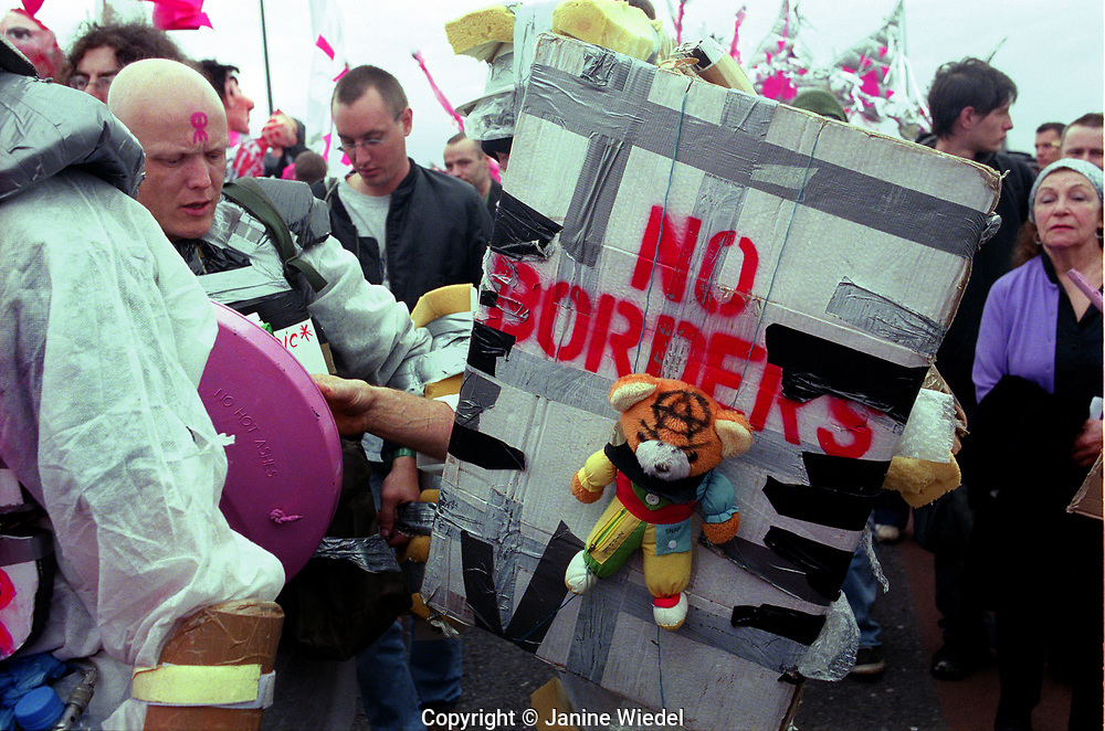 On 9.11  The anarchist movement known as the Wombles ( (White Overalls Movement Building Libertarian Effective Struggles) were protesting at demonstration  outside Excel Center Arms Trade Fair in London.  Sept 11, 2001