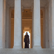 Washington DC. The statue of founding father Thomas Jefferson catching early morning golden light.