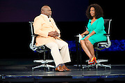 """Oprah Winfrey and Bishop T.D. Jakes speak during a live taping of """"Oprah's Lifeclass"""" during Mega-Fest 2013 at the American Airlines Center in Dallas, Texas on August 29, 2013."""
