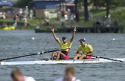 """Trakai, LITHUANIA. 2002 Junior World Rowing Championships, on Lake Galva Saturday  10/08/2002 [Mandatory Credit: Peter Spurrier/ Intersport Images].""""A"""" FinalsROM JM2-  Gold medal.Bow Mihal Tofan and Marcus Despina 200208 Junior World Rowing Championships, Trakai, LITHUANIA"""