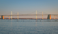 The Chesapeakee Bay Bridge spans five miles to travese the Chesapeake Bay in Annpolis, Maryland.