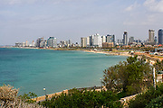 Israel,Tel Aviv beach front and skyline as seen from south, from Jaffa