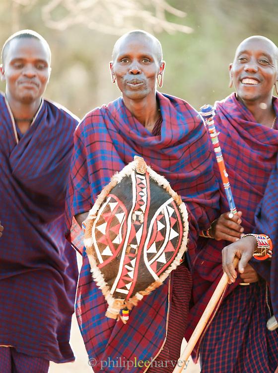 Group of Maasai tribesmen at Adumu, traditional jumping contest. Near Amboseli National Park, Kenya