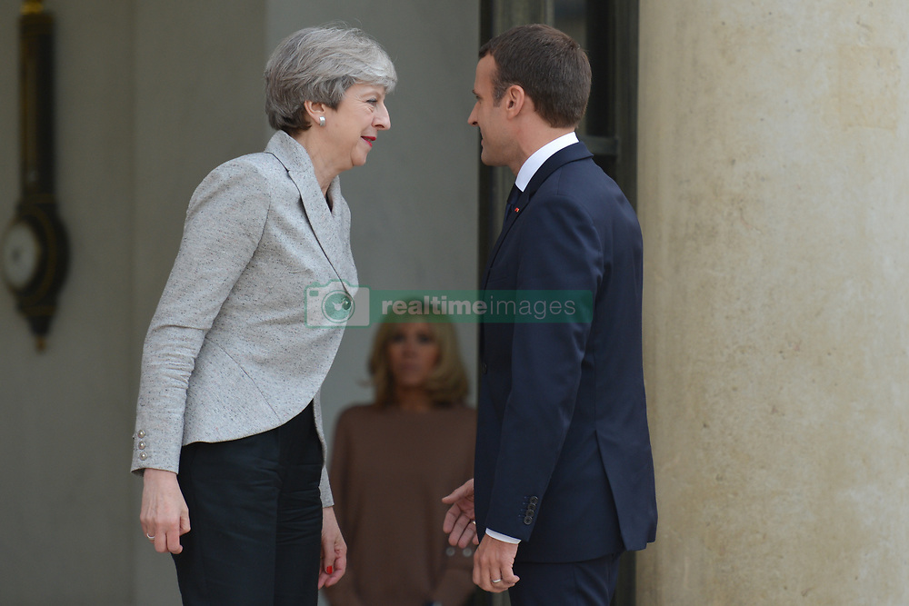 June 13, 2017 - Paris, France - French President Emmanuel Macron welcomes British PM, Theresa May, as she arrives at The Élysée Palace . .On Tuesday, June 13, 2017, in Paris, France. (Credit Image: © Artur Widak/NurPhoto via ZUMA Press)