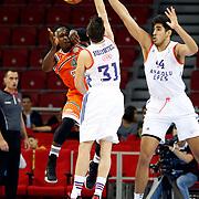 Anadolu Efes's and Banvit's during their Turkish Basketball Spor Toto Super League match Anadolu Efes between Banvit at the Abdi ipekci arena in Istanbul, Turkey, Sunday 25, October 2015. Photo by Aykut AKICI/TURKPIX