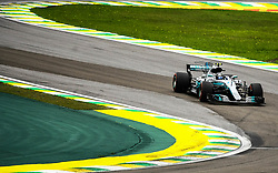 November 11, 2017 - Brazil - SAO PAULO, SP - 11.11.2017: QUALIFYING PARA GP F1 - In the photo the pilot, Valtteri Bottas, from MERCEDES-BENZ during the free practice in the morning. Classifying training day on Saturday (11), for the Brazilian Formula 1 Grand Prix, which will take place on Sunday (12) at the Jose Carlos Pace racetrack in Interlagos. (Credit Image: © Fotoarena via ZUMA Press)