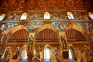 Byzantine mosaics at the Palatine Chapel ( Capella Palatina ) Norman Palace Palermo, Sicily, Italy .<br /> <br /> If you prefer you can also buy from our ALAMY PHOTO LIBRARY  Collection visit : https://www.alamy.com/portfolio/paul-williams-funkystock/byzantine-art-antiquities.html . Type -    Palatine     - into the LOWER SEARCH WITHIN GALLERY box. Refine search by adding background colour, place, museum etc<br /> <br /> Visit our BYZANTINE MOSAIC PHOTO COLLECTION for more   photos  to download or buy as prints https://funkystock.photoshelter.com/gallery-collection/Roman-Byzantine-Art-Artefacts-Antiquities-Historic-Sites-Pictures-Images-of/C0000lW_87AclrOk