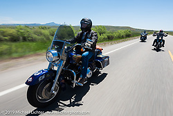 Troy Weigel of the Yavapai County Veterans Association riding from Steamboat Springs, Colorado, to Baggs, Wyoming during the Rocky Mountain Regional HOG Rally, USA. Friday June 9, 2017. Photography ©2017 Michael Lichter.
