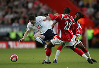 Photo: Lee Earle.<br /> Charlton Athletic v Tottenham Hotspur. The Barclays Premiership. 07/05/2007.Tottenham's Robbie Keane (L) trys to get past Charlton's Alexandre Song and Souleymane Diawara.