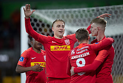 Ulrik Yttergård Jenssen (FC Nordsjælland) jubler med Magnus Kofod Andersen og Joachim Rothmann efter scoringen til 6-0 under kampen i 3F Superligaen mellem FC Nordsjælland og AC Horsens den 19. februar 2020 i Right to Dream Park, Farum (Foto: Claus Birch).