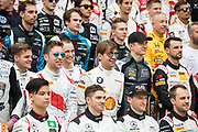 GT drivers pose for group photo<br /> <br /> 65th Macau Grand Prix. 14-18.11.2018.<br /> SJM Macau GT Cup - FIA GT World Cup. <br /> Macau Copyright Free Image for editorial use only