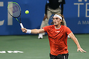 STEFANOS TSITSIPAS hits a volley at the Rock Creek Tennis Center.
