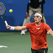 STEFANOS TSITSIPAS hits a volley at the Rock Creek Tennis Center.