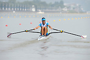 Chungju, South Korea. Sunday Heats, SLO LM1X. Rajko HRVAT, Moves away from the start on the openingt day of the 2013 FISA World Rowing Championships, Tangeum Lake International Regatta Course. 10:00:55  Sunday  25/08/2013 [Mandatory Credit. Peter Spurrier/Intersport Images]