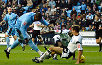 Photo: Ed Godden.<br />Coventry City v Derby County. Coca Cola Championship. 11/11/2006. Coventry's Stern John (L) scores to make it 1-1.