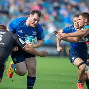 DUBLIN, IRELAND:  October 9:   Peter Dooley #17 of Leinster is tackled by Ion Neculai #3 of Zebreduring the Leinster V Zebre, United Rugby Championship match at RDS Arena on October 9th, 2021 in Dublin, Ireland. (Photo by Tim Clayton/Corbis via Getty Images)