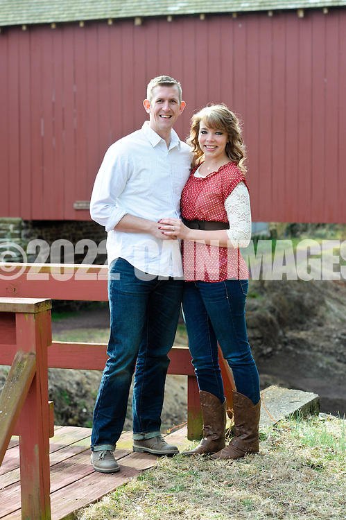 UPPER BLACK EDDY, PA - MARCH 9:  Korie and Justin are photographed March 9, 2012 at the Uhlerstown Covered Bridge in Upper Black Eddy, Pennsylvania. (Photo by William Thomas Cain/cainimages.com)