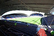a General view inside the stadium before the match. Skybet football league championship match, Huddersfield Town v Derby county at the John Smith's stadium in Huddersfield, Yorkshire on Saturday 18th April 2015.<br /> pic by Chris Stading, Andrew Orchard sports photography.