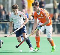 ROTTERDAM -    Olivier van Tongeren  (Neth)  with Elliott Killington  (Eng).     Practice Match  Hockey : Netherlands Boys U16  v England U16 . COPYRIGHT KOEN SUYK