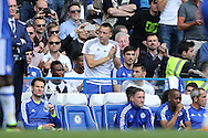 John Terry, the Chelsea captain applauds the fans from the bench as the fans cheer his name.Barclays Premier league match, Chelsea v Leicester city at Stamford Bridge in London on Sunday 15th May 2016.<br /> pic by John Patrick Fletcher, Andrew Orchard sports photography.