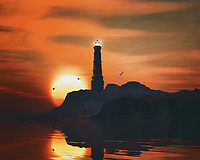 A lighthouse is meant to be a beacon for navigation. You can find a lighthouse along the coast anywhere in the world. In modern times, a lighthouse did lose some of its function due to more advanced technology; However, a lighthouse still retains its romantic function for many.<br /> This painting easily brings the atmosphere of the sea to your home. This coastal scene can be printed in different sizes and on different materials. Both on canvas, wood, metal or framed so it certainly fits into your interior. –<br /> -<br /> BUY THIS PRINT AT<br /> <br /> FINE ART AMERICA / PIXELS<br /> ENGLISH<br /> https://janke.pixels.com/featured/2-lighthouse-with-a-sunset-jan-keteleer.html<br /> <br /> <br /> WADM / OH MY PRINTS<br /> DUTCH / FRENCH / GERMAN<br /> https://www.werkaandemuur.nl/nl/shopwerk/Vuurtoren-met-een-zonsondergang-en-wervelende-veters-wolken/782479/132?mediumId=15&size=70x55<br /> –<br /> -