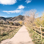 A path runs along Clear Creek in Golden, Colorado, just outside Denver at the eastern edge of the Rocky Mountains.