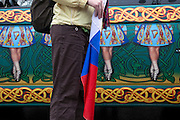 Moscow, Russia, 21/03/2010..A Russian flag and mural of Irish dancers on a van at the19th annual Moscow St Patrick's Day parade.