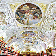 The incredibly ornately decorated ceiling done in the Baroque style in Prague's historic Strahov Library at the Strahov Monastery.