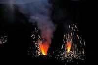 Lava projection in the crater of Stromboli volcano, Explosion, Stromboli, Etna, Italy