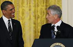 U.S. President Barack Obama (L) stands by former Republican senator Chuck Hagel at the White House in Washington D. C., the United States, Jan. 7, 2013. U.S. President Barack Obama on Monday announced that he will nominate former Republican senator Chuck Hagel as the next defence secretary, and counterterrorism adviser John Brennan to lead the Central Intelligence Agency (CIA), January 7, 2013. Photo by Imago / i-Images...UK ONLY