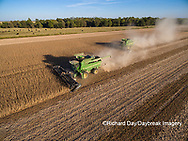 63801-08911 Soybean Harvest, 2 John Deere combines harvesting soybeans - aerial - Marion Co. IL