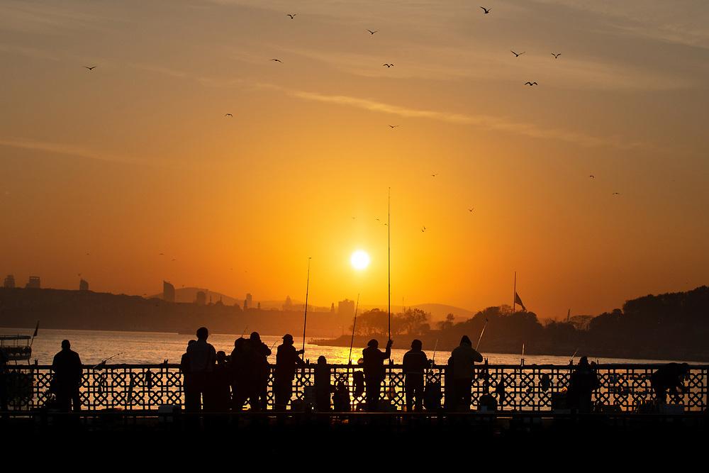 Fishermen, Galata Bridge, Istanbul, Turkey