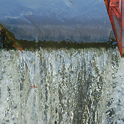 Water flowing through a spillway on the D and R Canal in Lambertville, NJ
