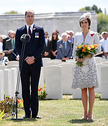 The Duke and Duchess of Cambridge lay flowers at the grave of the unknown soldier at Tyne Cot Commonwealth War Graves Cemetery in Ypres, Belgium, at a commemoration ceremony to mark the centenary of Passchendaele.