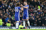 Gary Cahill of Chelsea celebrates scoring his sides 1st goal with David Luiz of Chelsea. Premier league match, Chelsea v Stoke city at Stamford Bridge in London on Saturday 31st December 2016.<br /> pic by John Patrick Fletcher, Andrew Orchard sports photography.