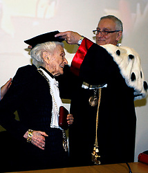 30.12.2012, Rome, ITA, Nobelpreistraegerin Rita Levi Montalcini ist im Alter von 103 verstorben. Sie war eine der ersten Frauen, die den Medizinnobelpreis erhalten haben und Pionierin in der Neurologie, im Bild Milano 22/01/2008 - Cerimonia di conferimento della laurea specialistica honoris causa in Biotecnologie industriali al premio: Hier im Bild Marcello Fontanesi Magnifico Rettore Università Bicocca // the Italian Nobel prize-winning neurologist Rita Levi-Montalcini has died at the age of 103, Rome, Italy on 2012/12/30. EXPA Pictures © 2012, PhotoCredit: EXPA/ Insidefoto/ Paperdb..***** ATTENTION - for AUT, SLO, CRO, SRB, BIH and SWE only *****