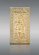 Medieval elephant ivory relief panel depicting the Crucifixtion. From southern Germany or north of Italy, end of 10th or 11th cent. AD. Inv. OA 12231, The Louvre Museum, Paris. .<br /> <br /> If you prefer you can also buy from our ALAMY PHOTO LIBRARY  Collection visit : https://www.alamy.com/portfolio/paul-williams-funkystock/romanesque-art-antiquities.html . Type -   Louvre   - into the LOWER SEARCH WITHIN GALLERY box. Refine search by adding background colour, place, museum etc<br /> <br />  Visit our MEDIEVAL PHOTO COLLECTIONS for more   photos  to download or buy as prints https://funkystock.photoshelter.com/gallery-collection/Medieval-Romanesque-Art-Antiquities-Historic-Sites-Pictures-Images-of/C0000uYGQT94tY_Y