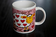 Polish I love ewe colorful coffee cup with red hearts on a sheep. Zawady Central Poland