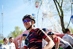 Kasia Niewiadoma (POL) waits to sign on at La Flèche Wallonne Femmes 2018, a 118.5 km road race starting and finishing in Huy on April 18, 2018. Photo by Sean Robinson/Velofocus.com