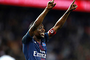 Paris Saint-Germain's French midfielder Blaise Matuidi celebrates after scoring during the French Championship Ligue 1 football match between Paris Saint-Germain and EA Guingamp on April 9, 2017 at Parc des Princes stadium in Paris, France - Photo Benjamin Cremel / ProSportsImages / DPPI